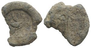 obverse: Roman PB Seal, c. 3rd-2nd century BC (32mm, 26.11g, 6h). Eagle flying facing. R/ Figure standing facing, leaning on shield(?). Fine