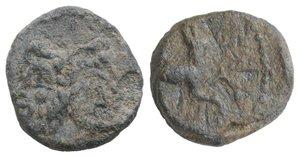 obverse: Roman PB Tessera, c. 3rd-2nd century BC (14mm, 3.15g, 11h). Head of Janus. R/ Horse standing r. Near VF