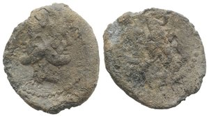 obverse: Roman PB Tessera, c. 3rd-2nd century BC (23mm, 6.80g, 1h). Head of Janus. R/ Hercules advancing r., holding club over shoulder. Fine