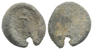 obverse: Roman PB Seal, c. 1st century BC - 1st century AD (15mm, 2.07g). Minerva standing facing, holding spear and leaning on shield. Near VF