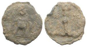 obverse: Roman PB Tessera, c. 1st century BC - 1st century AD (16mm, 3.16g, 12h). Mars or soldier standing r., holding spear and shield. R/ Shaft. Rostowzew 196. Near VF