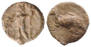 obverse: Roman PB Tessera, c. 1st century BC - 1st century AD (15mm, 2.95g, 12h). Neptune standing l., holding dolphin and trident. R/ Dolphin r. Rostowzew 2921. VF