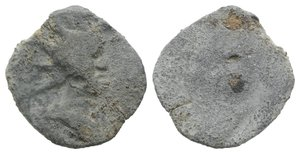 obverse: Roman PB Tessera, c. 1st century BC - 1st century AD (13mm, 1.94g). Radiate and draped bust of Sol(?) r. R/ Blank. VF