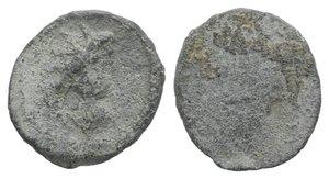 obverse: Roman PB Tessera, c. 1st century BC - 1st century AD (14mm, 1.95g). Radiate and draped bust of Sol(?) r. R/ Blank. Near VF