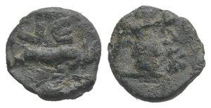 obverse: Roman PB Tessera, c. 1st century BC - 1st century AD (9mm, 0.80g). Victory standing r., holding wreath. R/ Two rampant goats; VE to l. Near VF