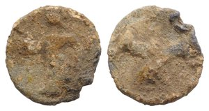 obverse: Roman PB Tessera, c. 1st century BC - 1st century AD (13mm, 2.07g, 12h). Figure standing l. R/ Phallus. Cf. Rostowzew 918. Near VF