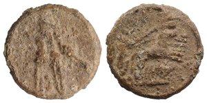 obverse: Roman PB Tessera, c. 1st century BC - 1st century AD (22mm, 7.32g, 9h). Uncertain figure on quadriga r. R/ Three corn-ears. Near VF