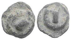 obverse: Roman PB Tessera, c. 1st century BC - 1st century AD (15mm, 5.25g). Bucranium. R/ Bucranium(?). Cf. Rostowzew 1097. Near VF