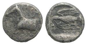 obverse: Kings of Thrace, Sparadokos (c. 464-444 BC). AR Diobol (9mm, 1.27g, 12h). Forepart of horse l. R/ Eagle flying l., holding serpent in beak. Topolav 63; SNG Copenhagen 1065-7. Good Fine - near VF