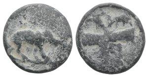 obverse: Roman PB Tessera, c. 1st century BC - 1st century AD (18mm, 5.28g). Lion standing r. R/ Club with lion-skin(?). Near VF
