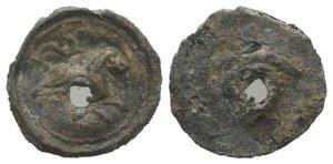 obverse: Roman PB Tessera, c. 1st century BC - 1st century AD (14mm, 0.49g). Lion running r. R/ Blank. Holed