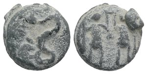 obverse: Roman PB Tessera, c. 1st century BC - 1st century AD (17mm, 6.47g, 9h). Triton l. R/ Two soldiers standing facing, each holding spear and raising wreath(?) between them. VF