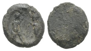 obverse: Roman PB Tessera, c. 1st century BC - 1st century AD (11mm, 1.42g). Two standing figures greeting each other. R/ Blank. VF