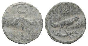 obverse: Roman PB Tessera, c. 1st century BC - 1st century AD (19mm, 2.18g, 12). Winged caduceus. R/ Bird standing r. on branch. Rostowzew 2750. Wavy flan, VF
