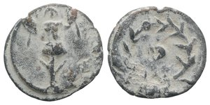 obverse: Roman PB Tessera, c. 1st century BC - 1st century AD (19mm, 3.55g). Trophy. R/ Standard within wreath. Rostowzew 142. VF