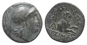 obverse: Kings of Thrace, Lysimachos (305-281 BC). Æ (13.5mm, 2.75g, 12h). Helmeted head of Athena r. R/ Forepart of a lion r.; kerykeion and monogram to l., spearhead below. SNG Copenhagen 1159. Green patina, Good VF