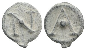 obverse: Roman PB Tessera, c. 1st century BC - 1st century AD (19mm, 3.75g, 12h). Large A with pellet. R/ Large N with pellet. Rostowzew 3367. VF