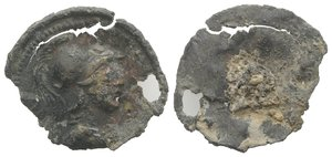 obverse: Roman Bronze Decorative Element, c. 1st century BC - 1st century AD (21mm, 1.32g). Helmeted bust of Mars(?) r. Holed and chipped