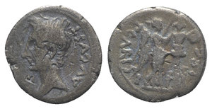 obverse: Augustus (27 BC-AD 14). AR Quinarius (13mm, 1.84g, 11h). Emerita. P. Carisius, legatus pro praetor, c. 25-23 BC. Bare head l. R/ Victory standing r., placing wreath on a trophy consisting of helmet and cuirass; dagger and sword hilt at base of trophy. RIC I 1b; RSC 387. Bankers  marks, near VF