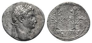 obverse: Augustus (27 BC-AD 14). AR Denarius (18mm, 3.43g, 6h). Uncertain Spanish mint (Colonia Caesaraugusta?), 19-18 BC. Head r., wearing oak wreath. R/ Two laurel branches (or trees) upright. RIC I 33a; RSC 47. Porous, hairlines, near VF