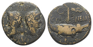 obverse: Augustus and Agrippa (27 BC-14 AD). Æ As (27mm, 12.17g, 11h). Gaul, Nemausus, c. 10-14. Heads of Agrippa, wearing combined rostral crown and laurel wreath, and Augustus, laureate, back to back. R/ Crocodile r., chained to palm frond with short, dense fronds; at top, wreath with long ties; two palm fronds at base. RIC I 159; RPC I 526. Brown patina, metal-flaws, Good Fine