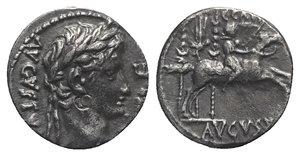 obverse: Augustus (27 BC-AD 14). AR Denarius (17mm, 3.66g, 7h). Lugdunum, 8 BC. Laureate head r. R/ Caius caesar on horseback riding r., holding sword and reins; to l., aquila r. between two signa. RIC I 199; RSC 40. Bankers  marks, dark patina, VF