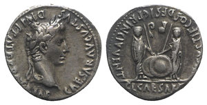obverse: Augustus (27 BC-AD 14). AR Denarius (20mm, 3.75g, 12h). Lugdunum, 2 BC-AD 12. Laureate head r. R/ Caius and Lucius Caesars standing facing, holding shields and spears between them; lituus and simpulum above. RIC I 210; RSC 43c. Toned, Good VF