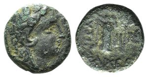 obverse: Thrace, Lysimacheia, c. 300-250 BC. Æ (15mm, 3.31g, 12h). Head of Herakles r., wearing lion skin. R/ Victory standing l., holding wreath. SNG Copenhagen 614-6. Rare. Green patina, Good Fine - near VF