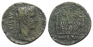 obverse: Augustus (27 BC-14 AD). Æ As (27mm, 10.69g, 2h). Lugdunum, 10-7(?) BC. Laureate head r. R/ Front elevation of the Altar of Lugdunum, decorated with the corona civica between laurels and stylized figures; altar flanked by columns surmounted by statues of Victory standing vis-à-vis, each holding a palm frond and wreath. RIC I 230. Good Fine