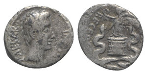 obverse: Augustus (27 BC-AD 14). AR Quinarius (13mm, 1.48g, 11h). Uncertain Italian or Ephesus, 29-8 BC. Bare head r. R/ Victory standing l. on cista mystica, holding wreath and palm frond; coiled serpent to l. and r. RIC I 276; RSC 14. Bankers  marks, near VF