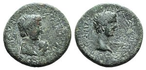 obverse: Kings of Thrace, Rhoemetalkes I and Augustus (11 BC-12 AD). Æ (22mm, 7.60g, 6h). Diademed head of Rhoemetalkes r., small head of Kotys V. R/ Bare head of Augustus r., capricorn before. RPC I 1717. Green patina, Good Fine