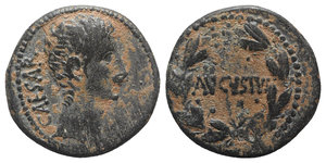 obverse: Augustus (27 BC-AD 14). Seleucis and Pieria, Antioch. Æ (23mm, 11.19g, 12h), c. 27-5 BC. Bare head r. R/ AVGVSTVS within wreath. ; McAlee 190; RPC I 4100. Brown patina, VF
