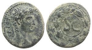 obverse: Augustus (27 BC-AD 14). Seleucis and Pieria, Antioch. Æ As (29mm, 16.64g, 11h), AD 4/5. Laureate head r. R/ Large S C within wreath. McAlee 206c; RPC I 4260. Green patina, near VF / Good Fine