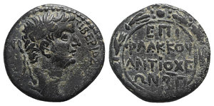 obverse: Tiberius (14-37). Seleucis and Pieria, Antioch. Æ As (27mm, 15.49g, 12h). Flaccus, legatus, year 82 of the Caesarean Era (AD 33/4). Laureate head r. R/ EΠI / ΦΛAKKOV / ANTIOXE / ΩN BΠ in four lines; all within wreath. McAlee 219; RPC I 4274. Green patina, VF