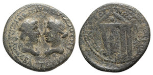 obverse: Tiberius and Julia Augusta (Livia, AD 14-37). Ionia, Smyrna. Æ (23mm, 5.21g, 1h). P. Petronius, proconsul, and Hieronymus, strategos, AD 29-35. Diademed and draped busts of the Senate r., facing Liva l. R/ Statue of Tiberius within tetrastyle temple with shield in pediment. RPC I 2469. Green patina, Good Fine