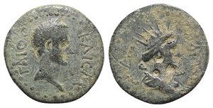 obverse: Gaius (Caligula, 37-41). Pontus, Comana. Æ (22mm, 6.33g, 11h). ΓAIOC KAICAP, Laureate head r. R/ Radiate bust r., with club over shoulder. RPC I 2158 var. (obv. legend; club position on rev.). Very Rare, green patina, Good Fine