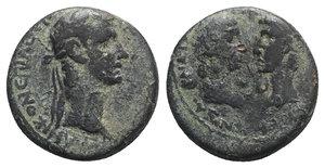 obverse: Gaius (Caligula) with Germanicus and Agrippina Senior (37-41). Ionia, Smyrna. Æ (21mm, 6.80g, 12h). Marcus Acilius Aviola, proconsul, and Menophanes, magistrate, c. AD 37-8. Laureate head of Caligula r. R/ Draped bust of Agrippina r., facing bare head of Germanicus l. RPC I 2471; SNG von Aulock 2201. Green patina, Good Fine