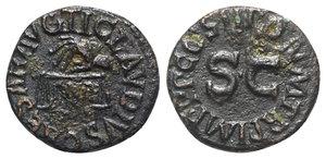 obverse: Claudius (41-54). Æ Quadrans (16mm, 2.71g, 6h). Rome, AD 42. Hand l., holding scales; PNR below. R/ Legend around large S • C. RIC I 91. Near VF