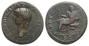 obverse: Claudius (41-54). Æ Dupondius (29mm, 12.38g, 6h). Rome, 41-2. Bare head l. R/ Ceres seated l. on throne, holding two stalks of grain and long torch. RIC I 94. Good Fine
