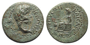 obverse: Nero (54-68). Cilicia, Anazarbus. Æ Hemiassarion (17mm, 5.01g, 12h), year 86 (AD 67/8). Laureate head r. R/ Boule seated l., holding dropping pebble in urn. RPC I 4063; SNG BnF 2010; SNG Levante 1368; SNG von Aulock 5472. Green patina, VF