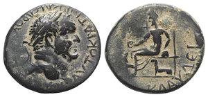 obverse: Vespasian (69-79). Lycaonia, Iconium (as Claudicomium). Æ (25mm, 9.81g, 7h). Laureate head r. R/ Hades enthroned l., holding phiale; Kerberos below throne. Von Aulock, Lykaoniens 284-5; RPC II 1607. Green patina, VF