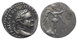 obverse: Vespasian (69-79). Cappadocia, Caesarea-Eusebia. AR Hemidrachm (13mm, 1.79g, 12h). Laureate head r. R/ Nike advancing r., holding wreath and palm frond. Metcalf 17; Sydenham 94; RPC II 1659. Toned, VF