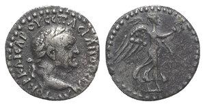obverse: Vespasian (69-79). Cappadocia, Caesarea-Eusebia. AR Hemidrachm (14mm, 1.67g, 12h). Laureate head r. R/ Nike advancing r., holding wreath and palm frond. Metcalf 17; Sydenham 94; RPC II 1659. Toned, VF