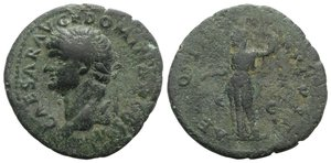 obverse: Domitian (Caesar, 69-81). Æ As (28mm, 8.60g, 6h). Rome, 73-4. Laureate head l. R/ Aequitas standing l., holding scales and sceptre. RIC II 666 (Vespasian). Green patina, Fine