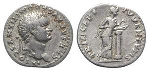obverse: Domitian (Caesar, 69-81). AR Denarius (18mm, 3.28g, 6h). Rome, AD 79. Laureate head r. R/ Salus standing r., leaning on column, feeding snake from patera. RIC II 1084 (Vespasian); RSC 384. VF