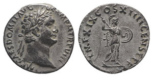 obverse: Domitian (81-96). AR Denarius (18mm, 3.13g, 6h). Rome, 88-9. Laureate head r. R/ Minerva advancing r., brandishing spear and holding shield. RIC II 667; RSC 252. Toned, light scratches, otherwise Good VF