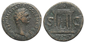 obverse: Domitian (81-96). Æ As (27mm, 10.13g, 1h). Rome, AD 85. Laureate head r. R/ Altar. RIC II 272. Good Fine