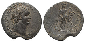 obverse: Domitian (81-96). Cilicia, Irenopolis-Neronias. Æ (23mm, 5.96g, 12h), year 42 (AD 92/3). Laureate head r. R/ Hygieia standing r., holding branch and feeding serpent fom phiale. RPC II 1763; SNG BnF 2249; SNG Levante 1600 var. (star on rev.). VF