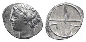 obverse: Gaul, Massalia, c. 218/5-200 BC. AR Obol (10mm, 0.53g, 7h). Bare head of Apollo l. R/ MA within wheel of four spokes. Depeyrot, Marseille 18; SNG Leipzig 13. VF