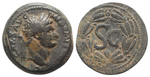 obverse: Domitian (81-96). Seleucis and Pieria, Antioch. Æ (31mm, 15.49g, 12h). Laureate head r. R/ S C within laurel wreath. McAlee 406d; RPC II 2021. Brown patina, VF